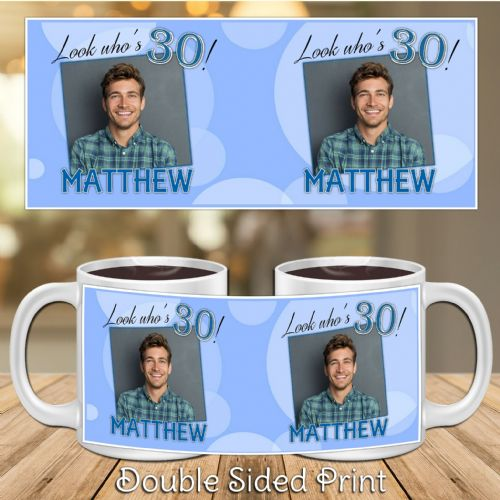 Personalised Blue Happy Birthday PHOTO Mug N2